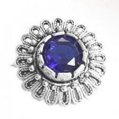 Brosa argint 925 floare cu zirconiu albastru
