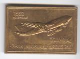 PLACHETA  AVIATIE - TAROM - ZBOR INAUGURAL -  AIRBUS 310 medalie Romania