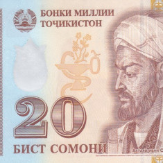 Bancnota Tadjikistan 20 Somoni 2017 - PNew UNC - bancnota asia