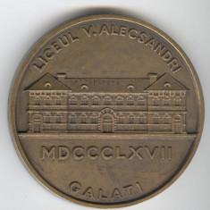 Placheta Liceul VASILE ALECSANDRI - GALATI 1867-1967 medalie COMEMORATIVA - Medalii Romania