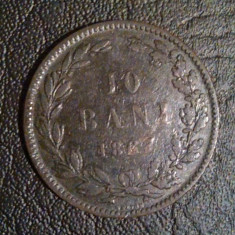 Moneda 10 Bani 1867 Heaton - Moneda Romania, Bronz