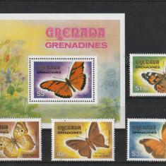 Fauna, fluturi, Grenada . - Timbre straine, Nestampilat