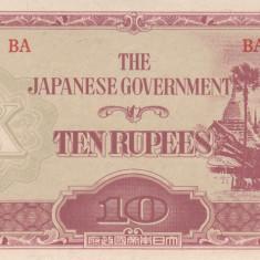 Bancnota Burma 10 Rupii (1942-44) - P16b UNC ( ocupatia japoneza ) - bancnota asia