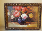 Trandafiri in vas ,litografie  pensulata, Flori, Ulei, Impresionism