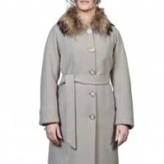 Palton din lână cu blană naturală