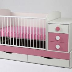 Patut Transformabil Silence Cu Leganare 4059 MyKids - Patut lemn pentru bebelusi