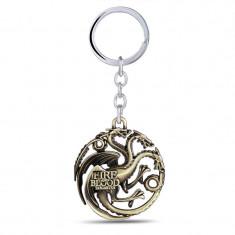Breloc tema Game of Thrones STARK Targaryen house metalic + ambalaj cadou