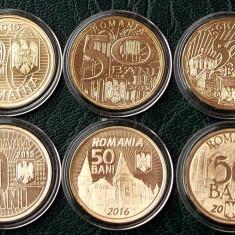Set lot 6 Monede comemorative Romania 50 Bani 2010 - 2017 UNC in capsule ** - Moneda Romania, Alama