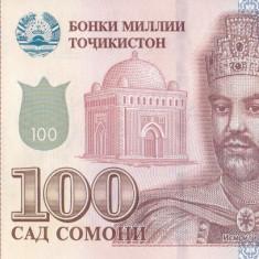 Bancnota Tadjikistan 100 Somoni 2017 - PNew UNC - bancnota asia
