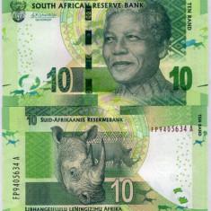 !!! AFRICA DE SUD - 10 RAND (2016) - P 138 b - UNC / SEMNATURA NOUA - bancnota africa