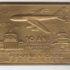 PLACHETA AVIATIE - TAROM - Buburesti - Beijing medalie Romania - Medalii Romania