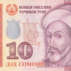 Bancnota Tadjikistan 10 Somoni 2017 - PNew UNC - bancnota asia