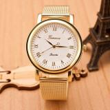 Ceas Dama CDB053 Geneva Metal Gold White