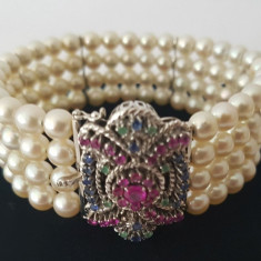 Bratara din aur decorata cu perle si pietre pretioase - Bratara aur, Carataj aur: 18k, Culoare Aur: Alb, 18 carate