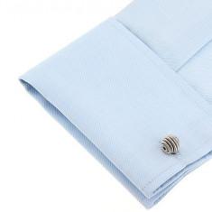 Butoni  metalici argintii sfera forma nod modern   + ambalaj cadou