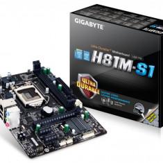 Placa de baza GIGABYTE Socket 1150, H81M-S1, INTEL H81, 2* DDR3 1600/1333, VGA, 1*PCIEx3.0/2*PCIEx1, 2*SATA3, 2*SATA2, 2*USB3.0, Gigabit LAN, bulk, Pentru INTEL, LGA 1150