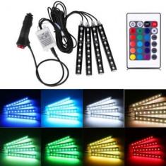 Lumini led RGB auto interior multicolor cu telecomanda - Lumini interior auto, Universal