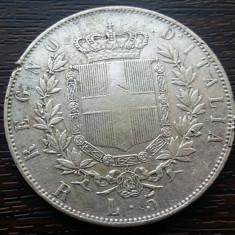 (A126) MONEDA DIN ARGINT ITALIA - 5 LIRE 1877, VITTORIO EMANUELE II, Europa