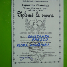 HOPCT DIPLOMA NR 26 - DIPLOMA DE ONOARE EXPO FILATELICA LUNA PADURII 1998 CCA
