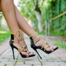 Sandale dama Nelly negre, Culoare: Negru, Marime: 36, 38, 39