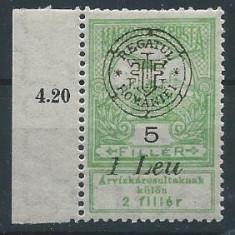 1919 Romania-Emisiunea Oradea, Inundatia 5 Lei -MNH - Timbre Romania, Nestampilat