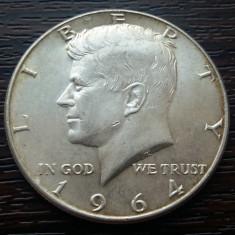 (A140) MONEDA DIN ARGINT SUA - HALF DOLLAR 1964, KENNEDY, PURITATE 900/1000, America de Nord