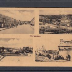 CERNAVODA LIBRARIA PARCUL ORASULUI GARA PODUL REGELE CAROL I LA CERNAVODA - Carte Postala Dobrogea 1904-1918, Circulata, Printata