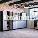Dulap Vestiar Cabinet Depozitare Organizator Plastic Usi Demontabil 173x68x39cm