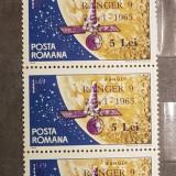 ROMANIA 1965 - Ranger 9 (supratipar) - Block de 4, Nestampilat