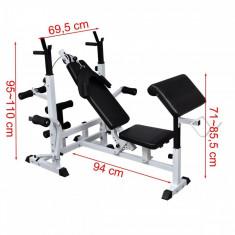 Banca fitness multifunctionala exercitii forta marca VidaXL