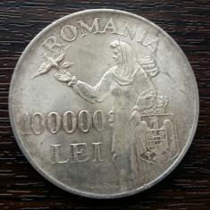(A121) MONEDA DIN ARGINT ROMANIA - 100.000 LEI 1946, REGELE MIHAI I - Moneda Romania