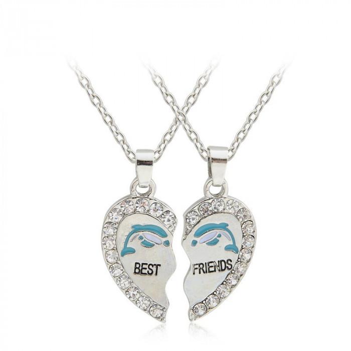 Psandantiv BEST FRIEND cu lant model delfin si strasuri pietricele silver