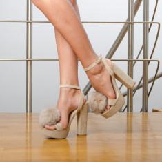 Sandale dama Cinderella bej, Marime: 35, 37