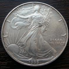 (A139) MONEDA DIN ARGINT SUA - 1 DOLLAR 1995, 1 UNCIE DE ARGINT, PURITATE 999, America de Nord