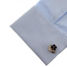 Butoni  metalici argintii forma vapor vele albastre   + ambalaj cadou