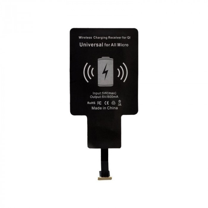 Qi Wireless Charger Quick Adapt UNI for Micro-USB foto mare