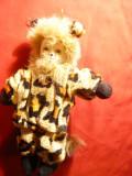 Papusa cu cap din portelan - Copil cu costum de pantera , h= 17 cm