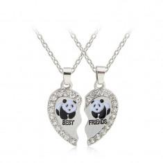 Psandantiv BEST FRIEND cu lant model urs panda si strasuri pietricele silver - Pandantiv fashion
