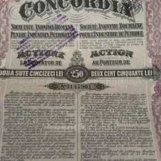 250 Lei actiune Concordia 1924 la purtator cu cupon