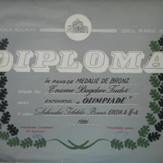 HOPCT DIPLOMA NR 78-DIPLOMA DE ONOARE EXPO FILATELICA BUCURESTI 1986 OLIMPIADE