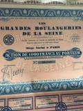 1000 Franci Actiune Grandes Boulangeries De La Seine Franta 1930