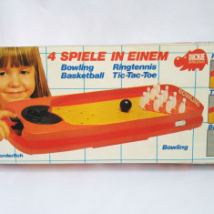 Joc vechi Dickie 4-in-1 Bowling, Baschet, Ringtennis, Tic-Tac-Toe, West Germany - Joc board game