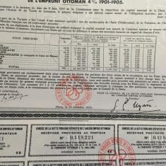 500 Franci Aur Datoria Publica Imperiu Otoman 1933 titlu la purtator