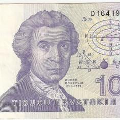 Croatia 1000 dinara 1991 VF - bancnota europa