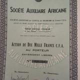10 000 Franci actiune Societe Auxiliaire Africaine la purtator