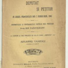 Al.Vasilescu / PROFESOR DE FACULTATE DEPUTAT SI PETITOR : ION TANOVICEANU - 1907 - Carte veche