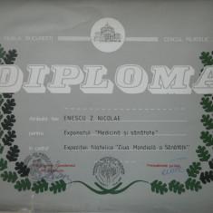 HOPCT DIPLOMA NR 77-DIPLOMA DE ONOARE EXPO FILATELICA BUCURESTI 1986 Z SANATATII