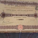 500 Franci actiune Societe Franco Sud Americaine de Travaux Publics
