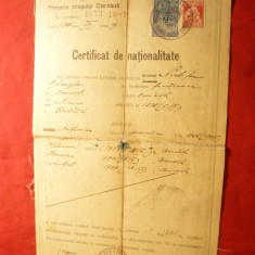 Certificat de Nationalitate acordat de oras Cernauti 1925 ,stampila Primariei