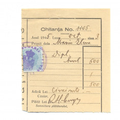 524 DOCUMENT VECHI -CHITANTA 1105 - MARIN ELENA- DIPLOMA BACALAUREAT -1945